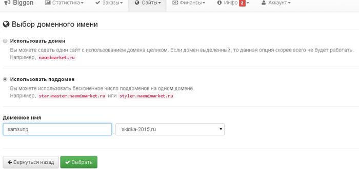 Выбор доменного имени на Biggon.ru