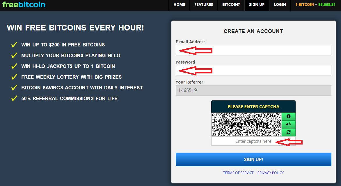 Регистрационная форма на сайте freebitco.in